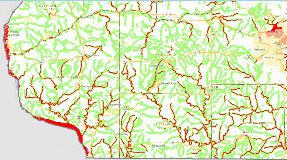 Map of SW Wisconsin showing assessed streams that are considered healthy (green) and streams designated as impaired (red) by Wisconsin DNR. Iowa County is in the top center of the map. This screenshot was taken from the WDNR Surface Water Data Viewer on April 24, 2020.